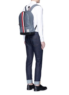 Thom BrowneLeather stripe Mackintosh backpack