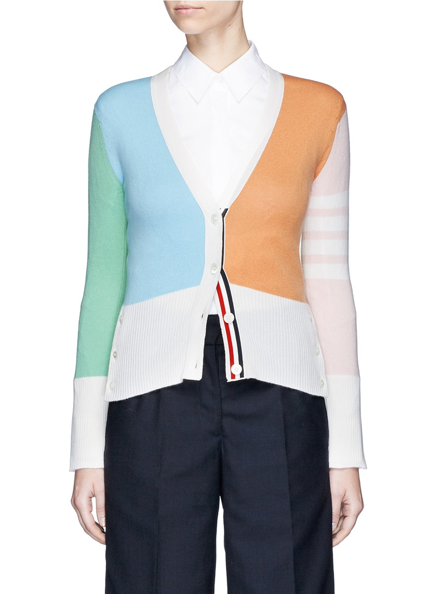 Colourblock cashmere cardigan by Thom Browne