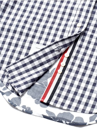 Detail View - Click To Enlarge - Thom Browne - Funmix gingham and floral cotton poplin shirt