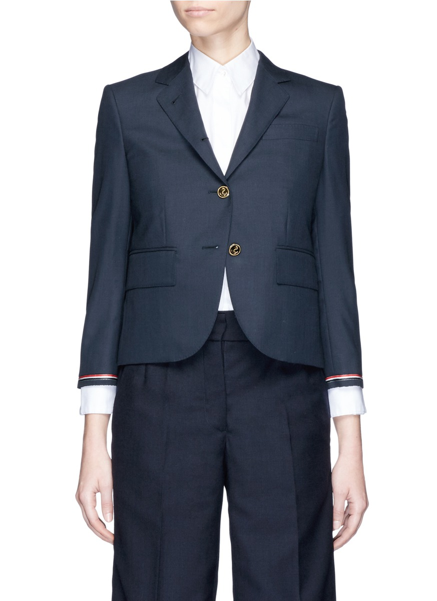 Stripe selvedge insert wool twill blazer by Thom Browne