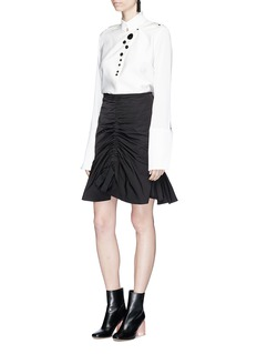 Ellery'Amaretto' tie front ruched memory gabardine skirt
