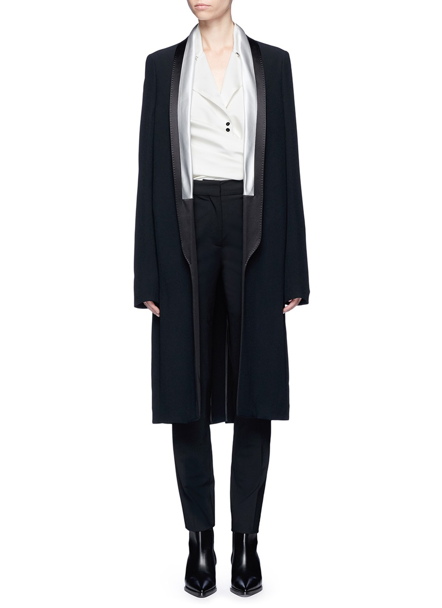 Contrast satin shawl lapel coat by Haider Ackermann