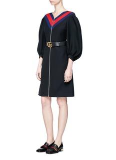 Gucci Web trim puff sleeve wool-silk zip dress