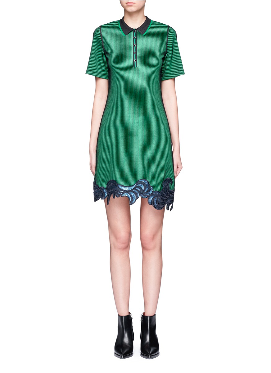 Floral sequin embroidered ottoman knit polo dress by 3.1 Phillip Lim