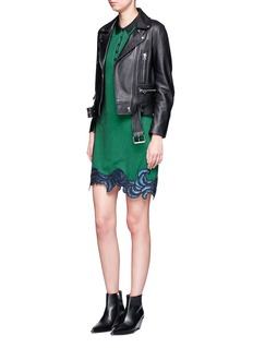 3.1 Phillip Lim Floral sequin embroidered ottoman knit polo dress