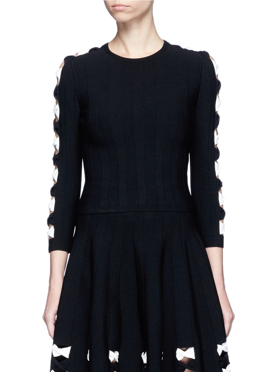 Twisted cutout sleeve cropped sweater by Alexander McQueen