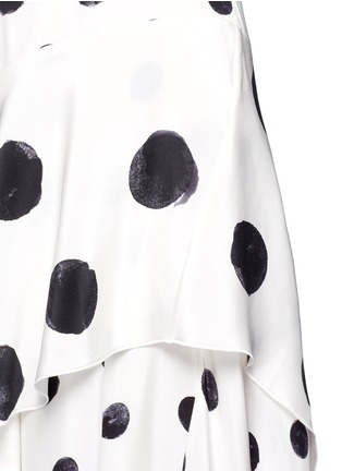 Detail View - Click To Enlarge - Oscar de la Renta - Tiered skirt polka dot silk crepe gown