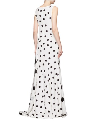 Back View - Click To Enlarge - Oscar de la Renta - Tiered skirt polka dot silk crepe gown