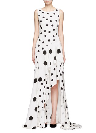 Main View - Click To Enlarge - Oscar de la Renta - Tiered skirt polka dot silk crepe gown