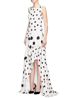 Oscar de la Renta Tiered skirt polka dot silk crepe gown