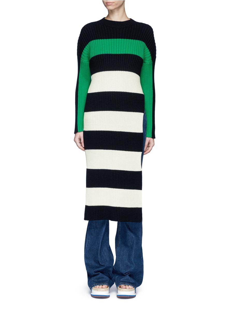 stella mccartney female side split stripe rib knit long sweater