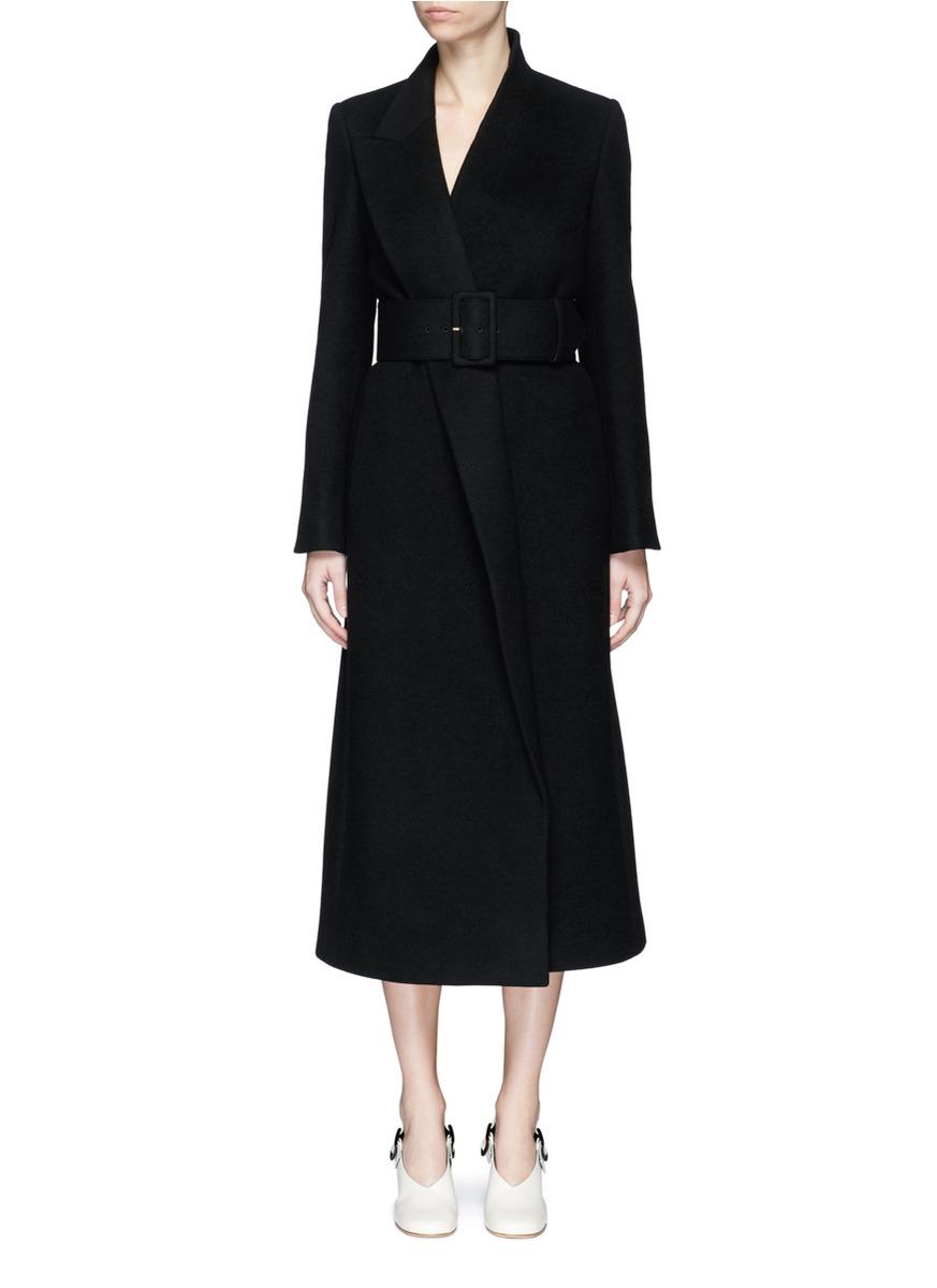 Mismatched lapel wool melton coat by Stella McCartney