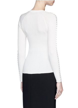Back View - Click To Enlarge - Alexander Wang  - Pierced eyelet rib knit sweater