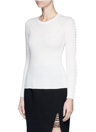 Front View - Click To Enlarge - Alexander Wang  - Pierced eyelet rib knit sweater