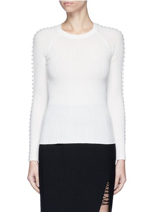 Main View - Click To Enlarge - Alexander Wang  - Pierced eyelet rib knit sweater