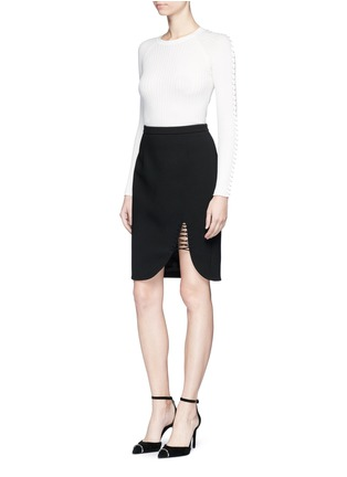 Figure View - Click To Enlarge - Alexander Wang  - Pierced eyelet rib knit sweater