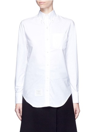 Thom Browne - Stripe ribbon trim cotton Oxford shirt