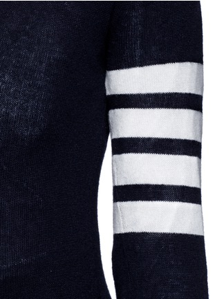 Detail View - Click To Enlarge - Thom Browne - Stripe sleeve cashmere V-neck cardigan