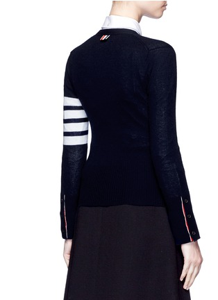 Back View - Click To Enlarge - Thom Browne - Stripe sleeve cashmere V-neck cardigan