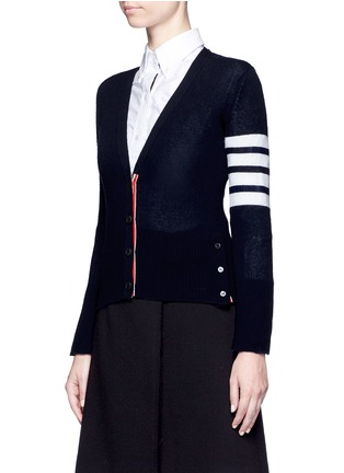 Front View - Click To Enlarge - Thom Browne - Stripe sleeve cashmere V-neck cardigan