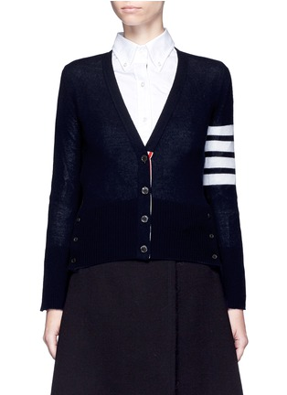 Main View - Click To Enlarge - Thom Browne - Stripe sleeve cashmere V-neck cardigan
