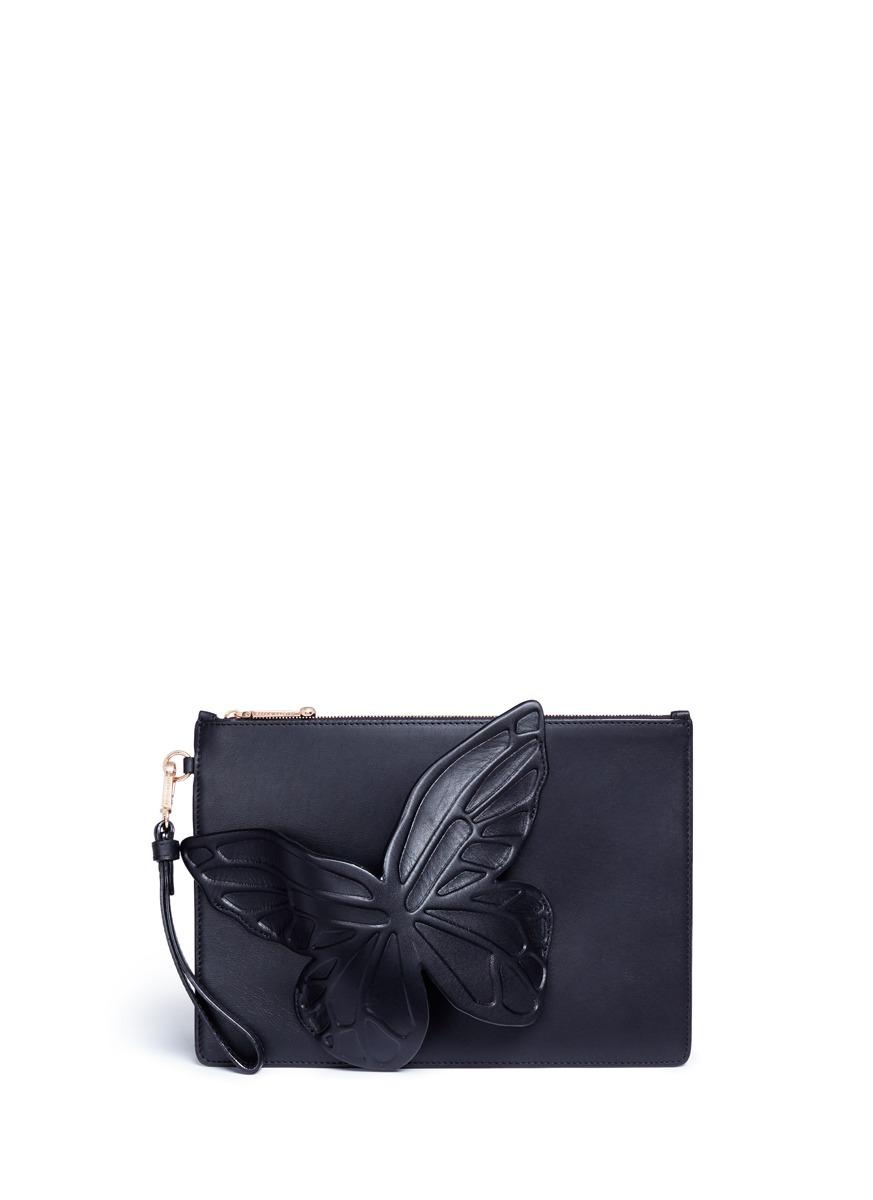 Flossy 3D butterfly leather clutch by Sophia Webster