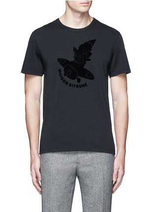 Main View - Click To Enlarge - Maison Kitsuné - 'Airman' flocked velvet patch T-shirt