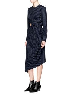 Acne Studios'Elvia' twist front pinstripe gabardine dress