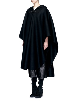 Front View - Click To Enlarge - Saint Laurent - Felted wool hooded cape coat