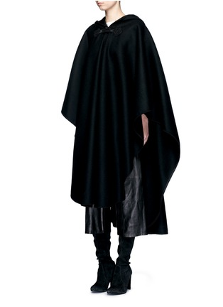 Figure View - Click To Enlarge - Saint Laurent - Felted wool hooded cape coat