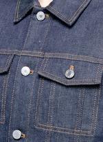Denim button military cape coat