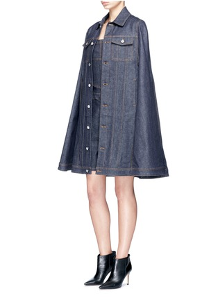 Figure View - Click To Enlarge - Givenchy - Denim button military cape coat