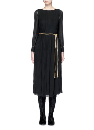 Main View - Click To Enlarge - Saint Laurent - Metallic rope belt crepe dress