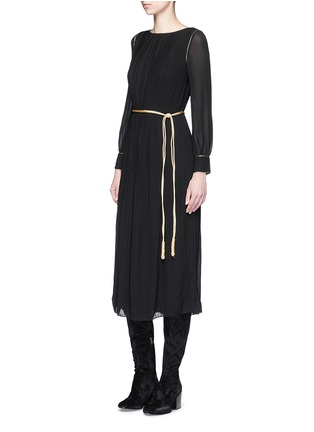 Figure View - Click To Enlarge - Saint Laurent - Metallic rope belt crepe dress