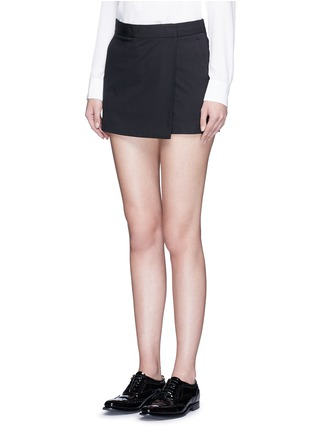 Front View - Click To Enlarge - Theory - 'Rileena' asymmetric flap cotton poplin skort