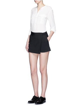 Figure View - Click To Enlarge - Theory - 'Rileena' asymmetric flap cotton poplin skort