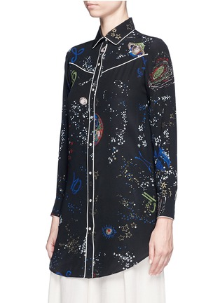 Front View - Click To Enlarge - Valentino - Cosmos print silk pyjama shirt