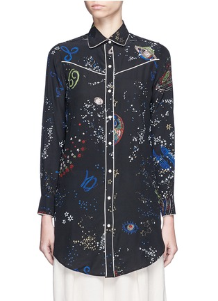 Main View - Click To Enlarge - Valentino - Cosmos print silk pyjama shirt