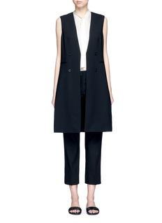 TheoryVirgin wool twill open front sleeveless jacket