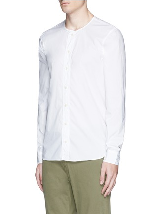 Front View - Click To Enlarge - Denham - 'Zeband' collarless cotton shirt