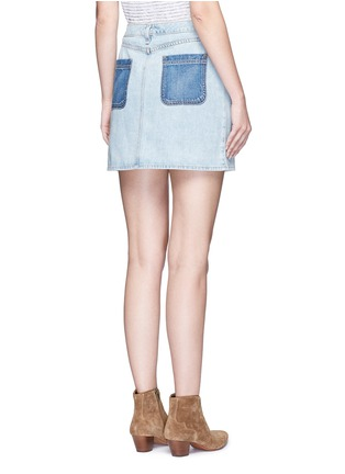 Back View - Click To Enlarge - rag & bone/JEAN - 'Mini Santa Cruz' contrast pocket denim skirt