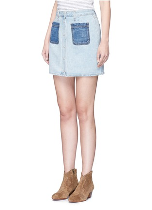 Front View - Click To Enlarge - rag & bone/JEAN - 'Mini Santa Cruz' contrast pocket denim skirt