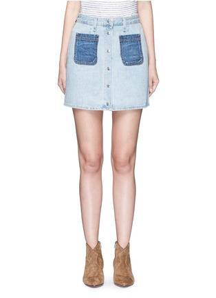 Main View - Click To Enlarge - rag & bone/JEAN - 'Mini Santa Cruz' contrast pocket denim skirt