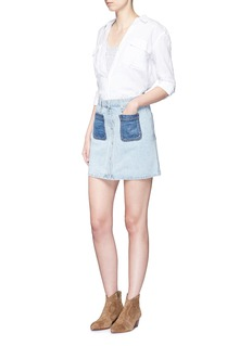 RAG & BONE/JEAN'Mini Santa Cruz' contrast pocket denim skirt
