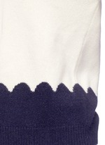 Scalloped contrast wool-cashmere sweater