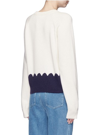 Back View - Click To Enlarge - Chloé - Scalloped contrast wool-cashmere sweater