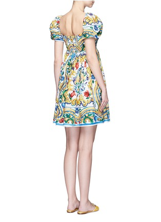 Back View - Click To Enlarge - Dolce & Gabbana - Puff sleeve maiolica print poplin dress