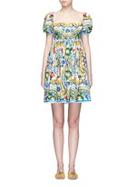Puff sleeve maiolica print poplin dress