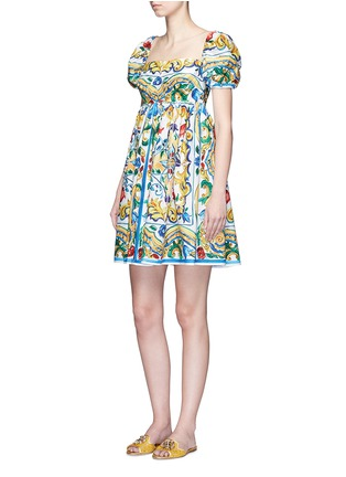 Figure View - Click To Enlarge - Dolce & Gabbana - Puff sleeve maiolica print poplin dress