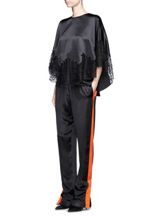 Givenchy Lace insert silk satin cape top